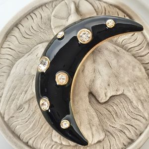VTG Black Enamel Rhinestone Crescent Moon Brooch